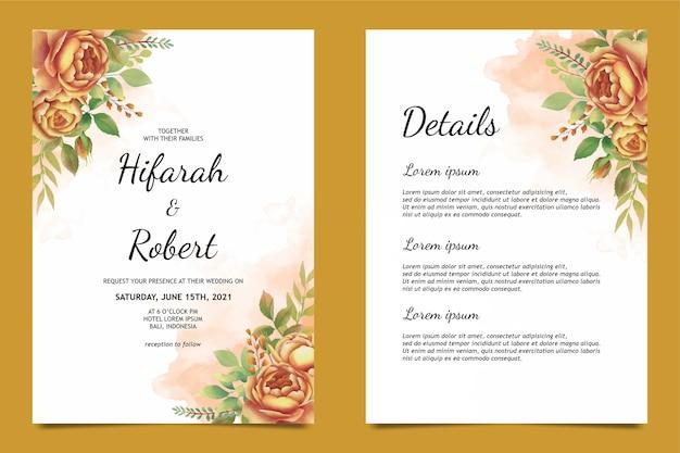 美しい水彩のバラの装飾が施された結婚式の招待カードのテンプレートと詳細カード