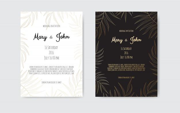 Wedding invitation card template black and white