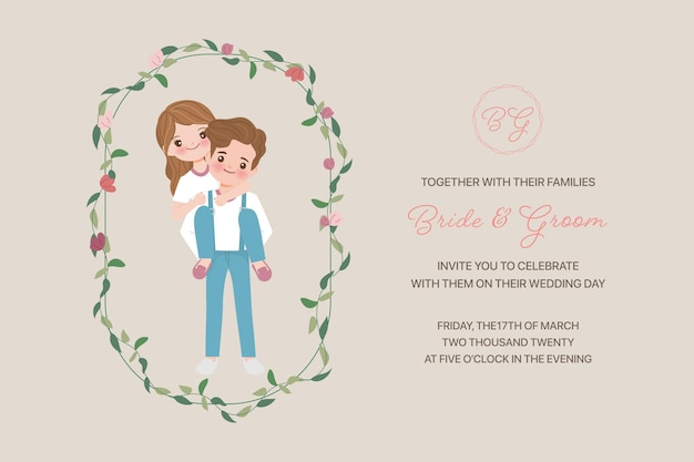 Wedding invitation card template, bride and groom, love, relationship, sweetheart, engagement, valentine's day