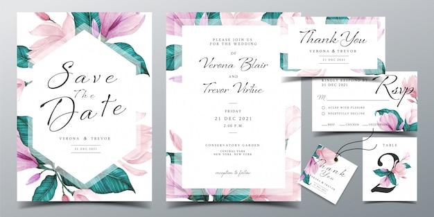 美しい水彩花で飾られた結婚式の招待カードのテンプレート