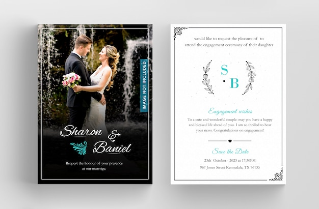 Wedding invitation card template design, floral black line art ink drawing with square frame on light grey