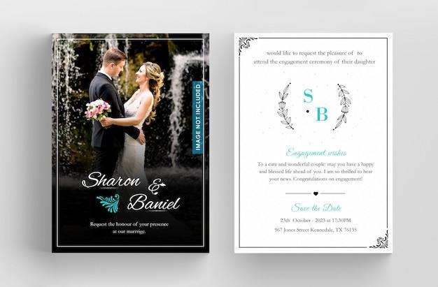 Wedding invitation card template design, floral black line art ink drawing with square frame on light grey