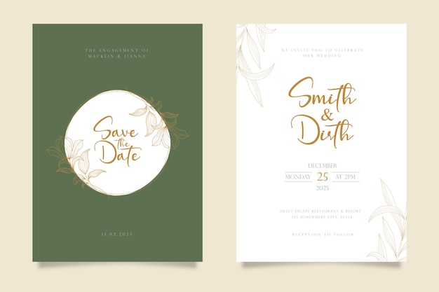 Wedding invitation card template design in line art style