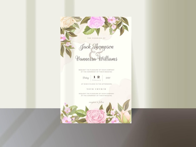 Wedding invitation card template design with floral