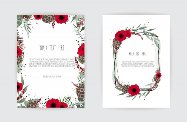 Wedding invitation card template. elegant frame with rose and anemone