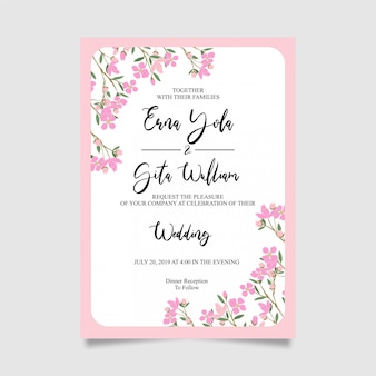 Wedding invitation card template frame in pink with flowers