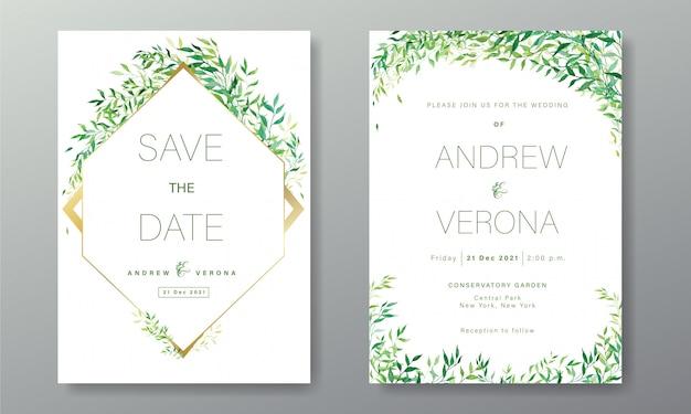 水彩風の花で飾られた白緑をテーマにした結婚式の招待カードテンプレート