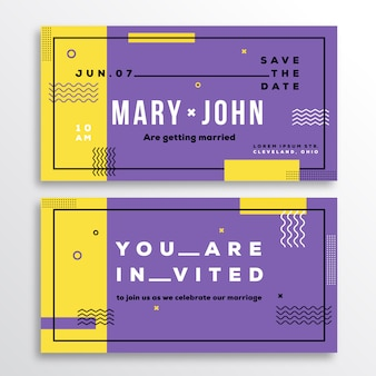 Wedding invitation card template. modern abstract flat swiss style background with decorative stripes, zig-zags and typography. yellow, violet colors. isolated.