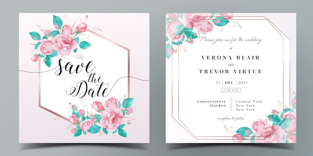 Wedding invitation card template in pink color theme decorated with rose in watercolor style