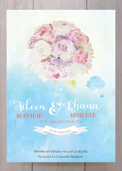 Wedding invitation card template, in pink paint watercolor style