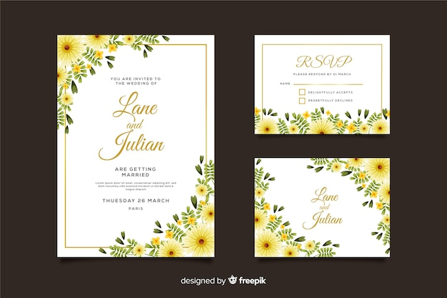 Wedding invitation card template and rsvp