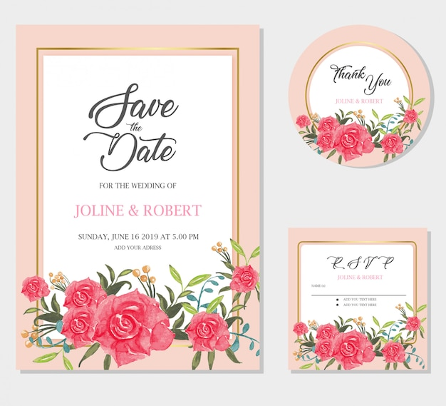 Wedding invitation card template. save the date