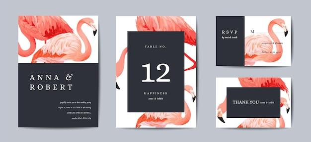 Набор шаблонов свадебного приглашения. тропические птицы фламинго сохраняют дату или поздравительные открытки. приглашение на свадьбу, фон дизайн номера стола. векторная иллюстрация