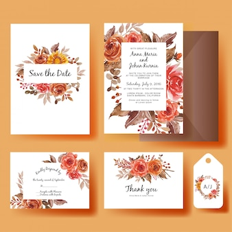 Wedding invitation card template set watercolor flowers sunflower and roses autumn