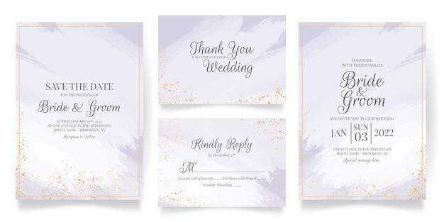 Шаблон свадебного приглашения с абстрактной акварелью и украшением из тропических листьев