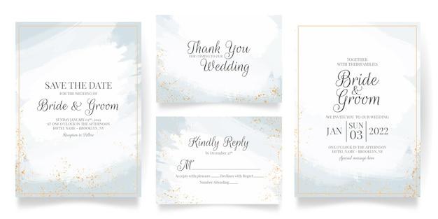 추상 수채화와 열대 잎 장식 설정 결혼식 초대 카드 템플릿