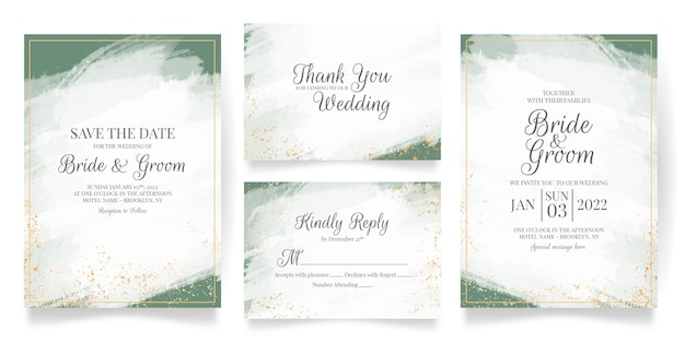 Wedding invitation card template set with abstract watercolor background