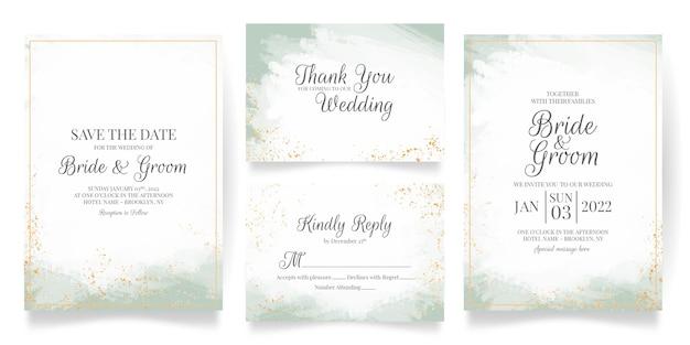 추상 수채화 장식으로 설정 결혼식 초대 카드 템플릿