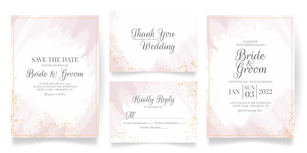 Wedding invitation card template set with abstract watercolor decoration