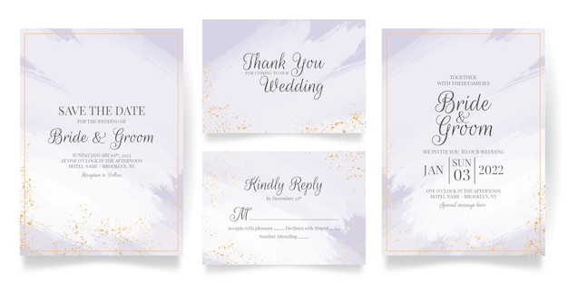 Wedding invitation card template set with abstract watercolor and tropical leaves decoration