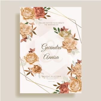 아름 다운가 꽃 잎으로 설정 결혼식 초대 카드 서식 파일