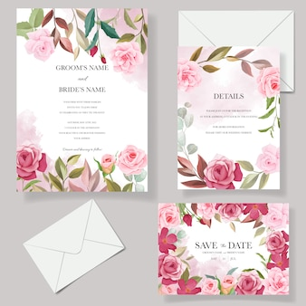 Wedding invitation card template set with beautiful floral decorations