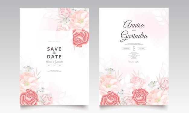 美しい花の葉で設定された結婚式の招待カードテンプレート