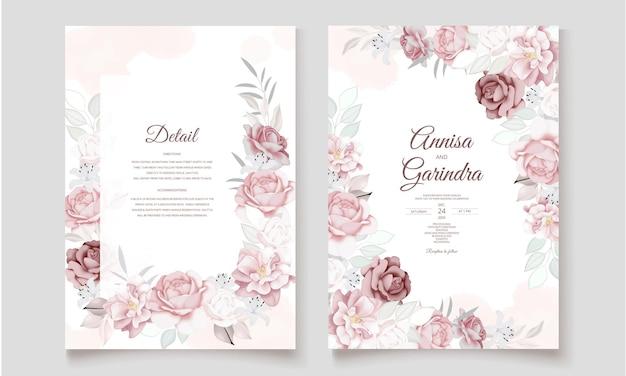 Шаблон свадебного приглашения с красивыми цветочными листьями