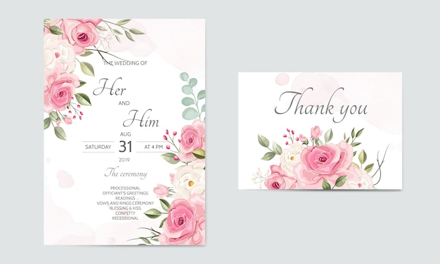 Wedding invitation card template set with beautiful floral leaves