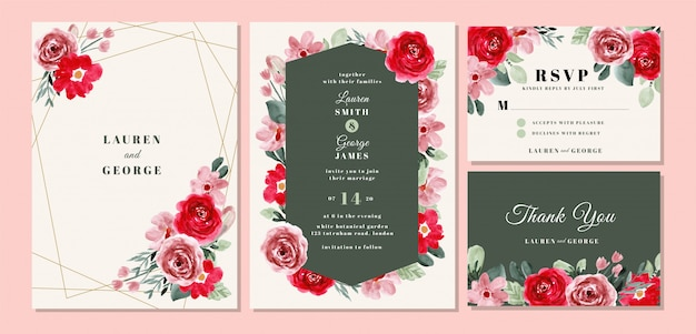 Wedding invitation card template set with beautiful flower watercolor