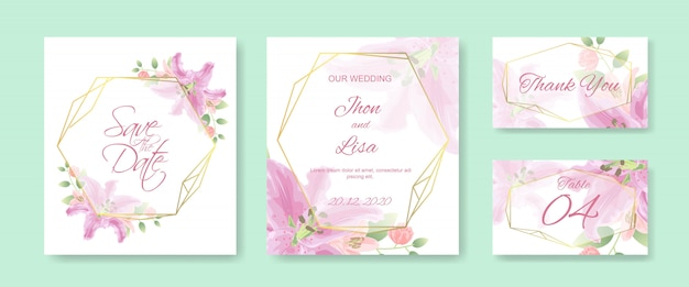Wedding invitation card template set with beautiful flowers