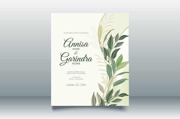美しい葉で設定された結婚式の招待カードテンプレート