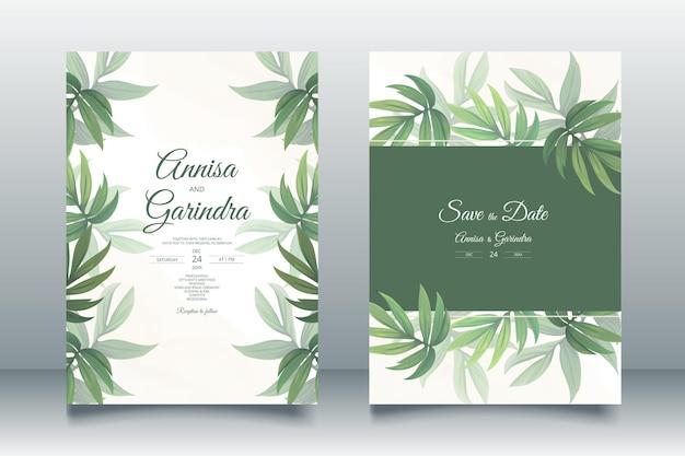 美しい熱帯の葉で設定された結婚式の招待カードテンプレート