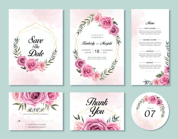 Wedding invitation card template set with beautiful watercolor rose flowers