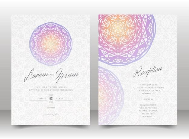 Wedding invitation card template set with colorful mandala and seamless