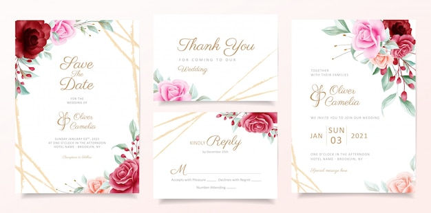 Wedding invitation card template set with elegant flowers decoration