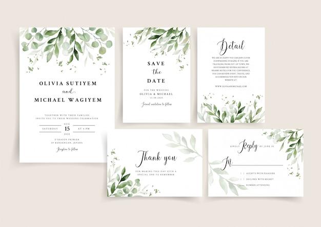 Wedding invitation card template set with elegant leaves border