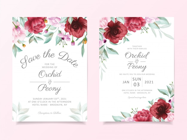 Wedding invitation card template set with floral border decoration