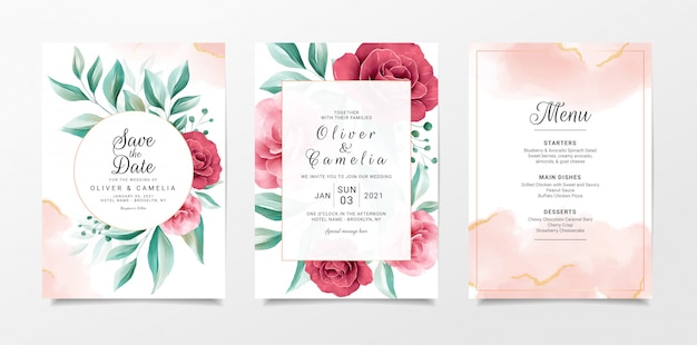 Wedding invitation card template set with floral and gold watercolor