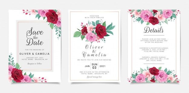 Wedding invitation card template set with flowers and gold geometric decoration
