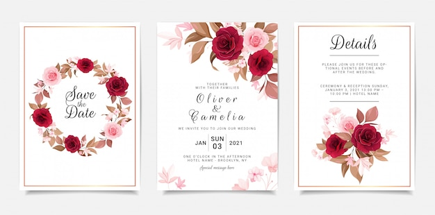 Wedding invitation card template set with flowers wreath and bouquet decoration