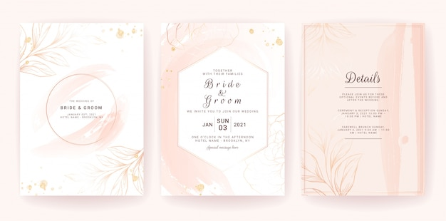 Wedding invitation card template set with geometric frame, gold watercolor splash, and floral line. brush stroke