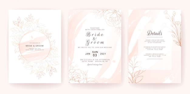 Wedding invitation card template set with geometric frame, gold watercolor splash, and floral line.