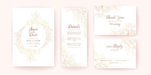 Шаблон приглашения карты свадьба с золотой цветочная рамка и границы. line-art композиция из цветов