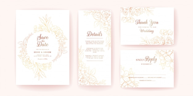 Wedding invitation card template set with gold floral frame and border. line-art flowers composition