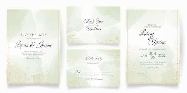 Wedding invitation card template set with golden floral decoration