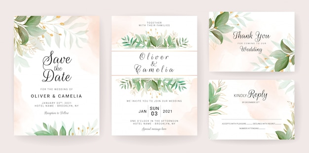 Wedding invitation card template set with golden leaves decoration
