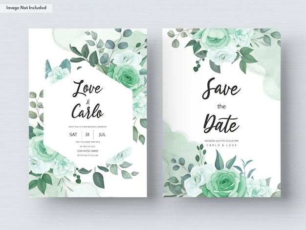 Wedding invitation card template set with greenery flower and leaves