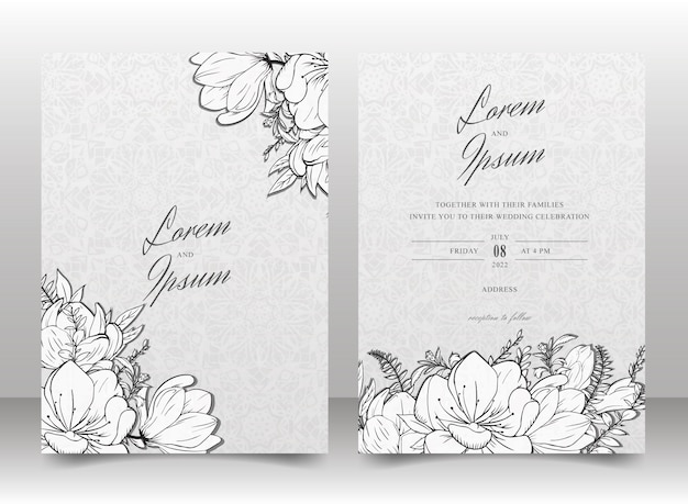 Wedding invitation card template set with hand drawn floral  and seamless background
