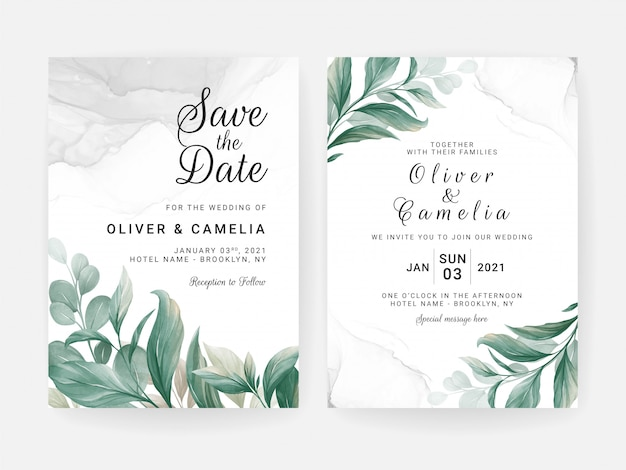 Wedding invitation card template set with leaves decoration and watercolor